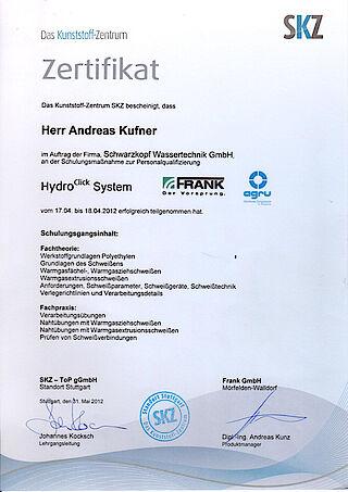 HydroClick Zertifikat